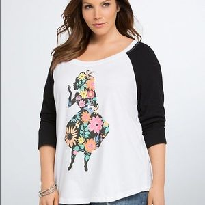Torrid Alice In Wonderland Baseball Graphic Top